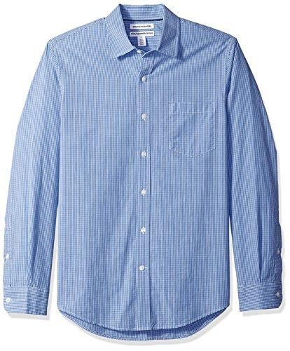 Amazon Essentials Slim-Fit Long-Sleeve Gingham Shirt Buttondown-Hemd, Blue Mini, Small