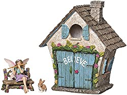 Image: Joykick Fairy Garden House Kit | Hand Painted with Opening Doors and Miniature Fairy Figurine with Accessories | Indoor Outdoor Set of 4 pcs for Home or Lawn Decor