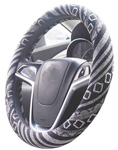 Mayco Bell 2018 Tessuto etnico in lino grezzo Copertura del volante automobilistico Antiscivolo e assorbimento del sudore Copertura per avvolgimento auto per auto (G)