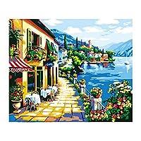 装飾的な壁画大人のための番号キットコーヒーショップパターンによるキャンバスペイントの12 * 16インチDIY油絵子供初心者クラフト家の壁の装飾ギフトホームオフィスの装飾に適しています (Size:12x16 Inch; Color:#1)