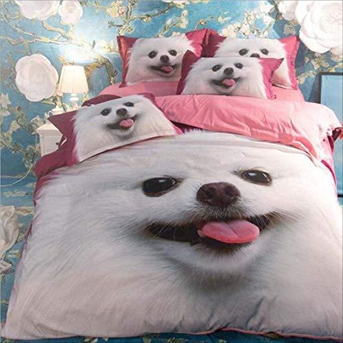 WGLG Double Bedding Duvet Set, 3D Printing Animal Bedding Set Duvet Cover And Pillowcase Home Textile Kids Bedding Set Cute Dog Bedclothes Linens