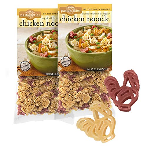Pastabilities Chicken Noodle Soup, Fun Chicken Shaped Noodles with Chicken Soup Mix for Kids, Non-GMO Natural Wheat Pasta, Serves 10 (11.25 oz, 2 Pack)