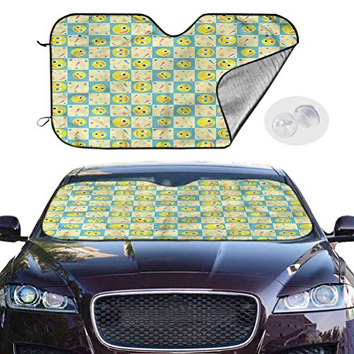 TableCoversHome Sun Visor Car Windshield Cartoon Accordion Folding Auto Sunshade Smiley Faces Expressions, 28 x 50 Inch, Auto Parts