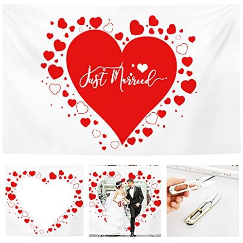 Herz zum Ausschneiden Hochzeit Deko, Bettlaken Hochzeit Ausschneiden, Hochzeitsherz zum Ausschneiden, Hochzeitsspiele für das Brautpaar, Deko Hochzeit Spiel & Foto-Hintergrund-mit 2 Paar Scheren