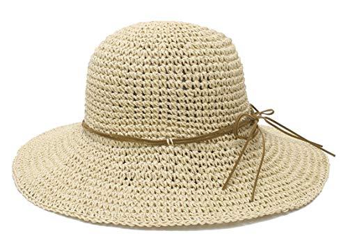 EOZY Verano Mujer Sombrero de Paja Plegable Bohemia Sun Floppy Mujer Sombrero de la Playa ala Ancha para Viajes Vacaciones