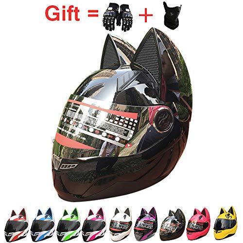 ZJRA Katze-Ohr-Helm, Motorradhelm Mit Cat Ear Creative Horn Off Road Motocross-Helm Für Männer & Frauen, Erwachsene, ECE/DOT Genehmigt,Cat Ears Helmet,6,M53~55cm