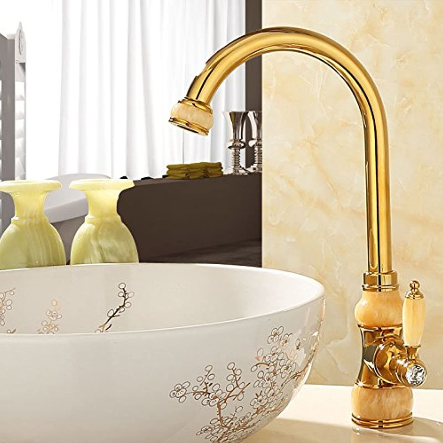 Hlluya Professional Sink Mixer Tap Kitchen Faucet Natural jade full copper surface basin of cold water faucet kitchen sink to redate the gold antique fittings,