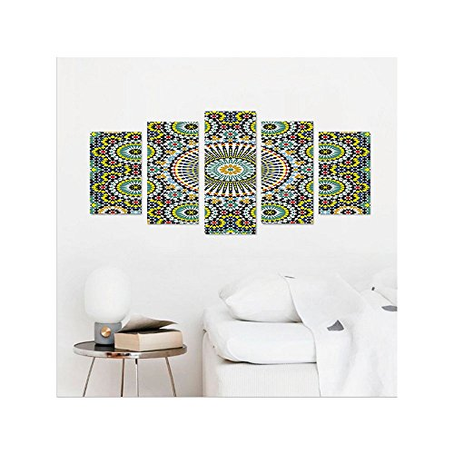 Liguo88 Custom canvas Arabesque Ethnic Moroccan Middle Eastern Oriental Traditional Vintage Islamic Mosaic Motif Wall Hanging for Bedroom Living Room Multicolor