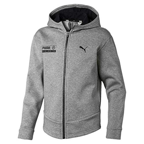 PUMA Jungen Alpha Graphic Sweat Jacket FL B Trainingsjacke, Medium Gray Heather, 128