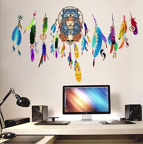 Preisvergleich Produktbild Zyunran Indian Werwolf Kopf tragen bunte Feder Wandaufkleber Wohnzimmer Schlafzimmer Tapete Poster bunte Mädchen Wand Grafik Wandbild