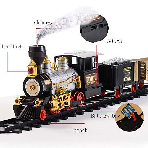 LJHLJH Juguetes de Navidad, Tren Electrico realistas Jefes Retro del Vapor se Puede Fumar para Instalar Materiales Simples El Medio Ambiente para los niños