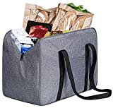 SLEEPING LAMB Insulated Shopping Tote Bag Zippered Heavy Duty Reusable Cooler Grocery Bags Food Delivery Bag for Groceries Picnic, Travelling, Camping