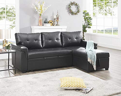Naomi Home Laura Reversible Sleeper Sectional Sofa Storage Chaise Black/Air Leather