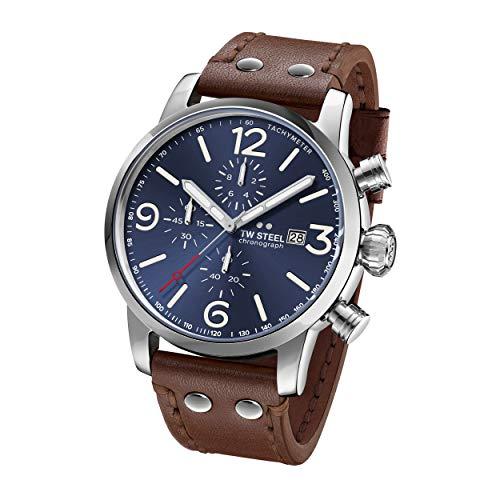 TW Steel Unisex Erwachsene Chronograph Quarz Uhr mit Leder Armband MS104