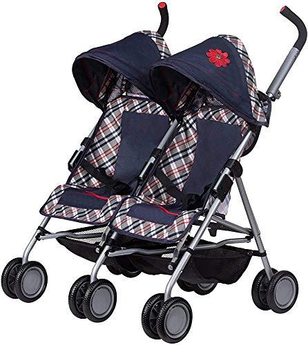 La altura del mango en cadena de intervalo ajustables clásico Comprobar tela, cochecitos de bebé carros,Blue