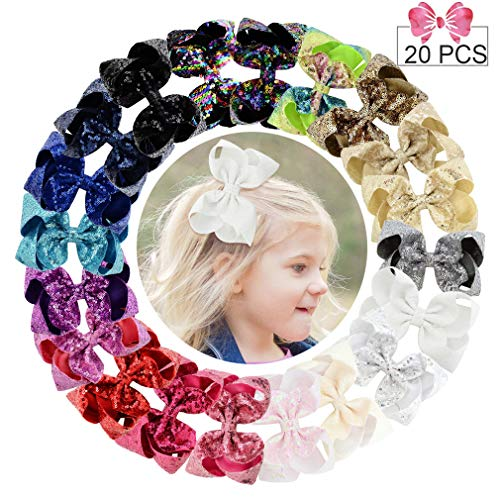 """6"""" Large Sequins Hair Bows 20PCS Glitter Sparkly Boutique Alligator Clips for Girls Toddlers Teens Women"""