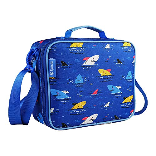 Epessa Large Kids Lunch Bag for Boys and Girls with Shoulder Strap, Double Insulated Lunch Tote Bento Box Bag for Boys, Perfect Size for Packing Hot or Cold Snacks for School and Travel (Shark)