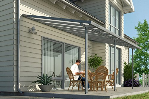 Hochwertige ALU Terrassenüberdachung/Veranda - 420 x 300 (BxT) / Überdachung Palram Feria Grau
