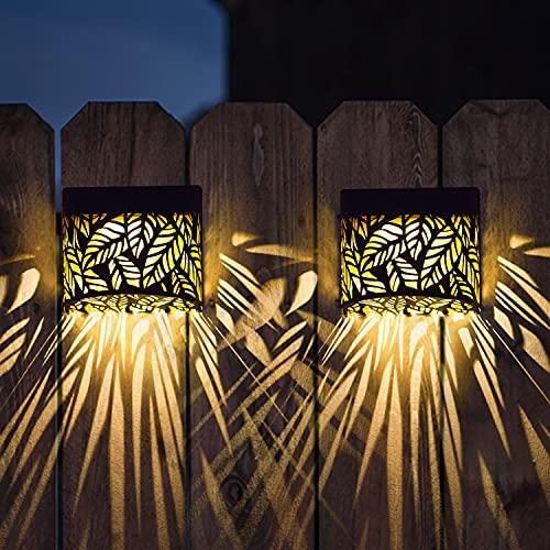 Metal Solar Wall Lights Outdoor Decorative, Dusk to Dawn Sensor Waterproof 2 Lighting Modes for Backyard Garden Pathway -2 Pack