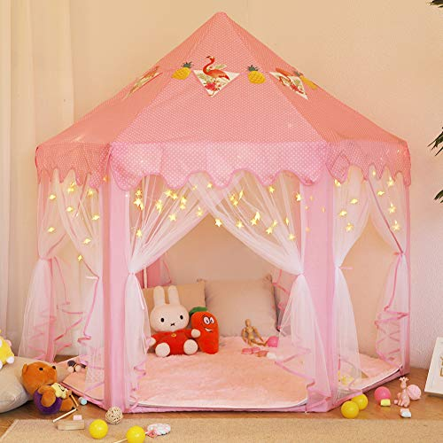 Twinkle Star 55'x 53' Princess Play Castle Tent for Girls Playhouse with 50 LEDs Star String Lights, Ultra Soft Rug and Banners Decor, Princess Tent, Kids Game House for Indoor Outdoor Game, Pink