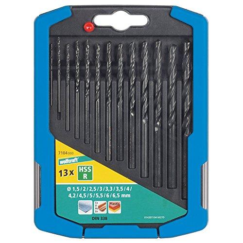 Wolfcraft 7104000 7104000-13 Brocas Espiral HSS, Laminado por Rodillo Compuesto diam. 1,5-2,0-2,5-3,0-3,3-3,5-4,0-4,2-4,5-5,0-5,5-6,0-6,5 mm en Caja Deslizante de plástico 2k, Set de 13 Piezas