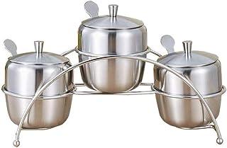 WZHZJ Assaisonnement en Acier Inoxydable Contenants Épices Pot À Épices Sel Poivre Sucre Organisateurs De Stockage avec Cu...