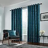 Peacock Blue Hotel Roma-Cortinas Forradas con Esmeralda, 100% poliéster, 228 x 137 cm