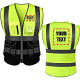 Add Your Name Text on High Visibility Reflective Safety Vest Class 2 ANSI Custom Your Text Protective Workwear...