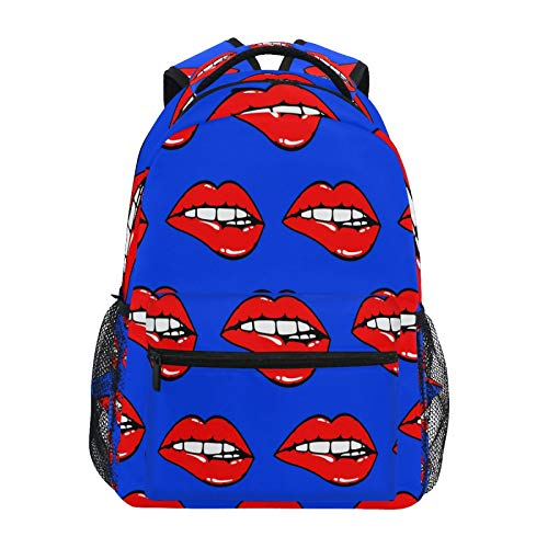 Ombra Backpack Red Sexy Lip Pattern School Shoulder Bag Large Waterproof Durable Bookbag Laptop Daypack for Students Kids Teens Girls Boys Elementary