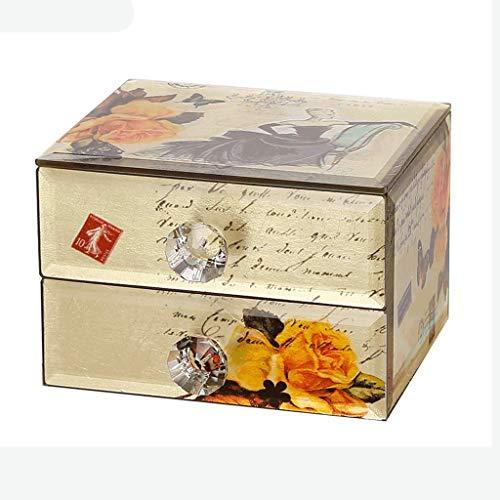 GYZS storage box Anillo de Pulsera Joyero Europeo Retro Caja de Almacenamiento de joyería pequeña Tipo de cajón Doble Joyero casero (Color : A)