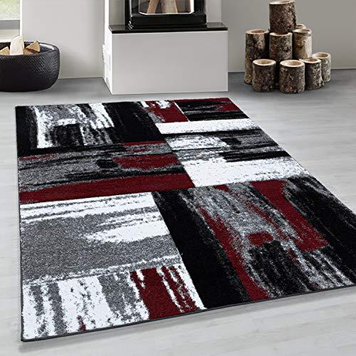 Simpex Tapis de salon à poils courts Design moderne Rouge/noir/gris 160 x 230 cm