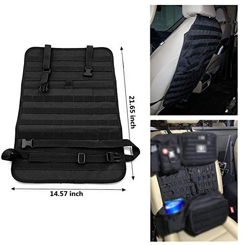 FIRECLUB Car Seat Back Organizer, Tactical MOLLE Vehicle Panel Car Seat Cover Protector Universal Fit (Black)