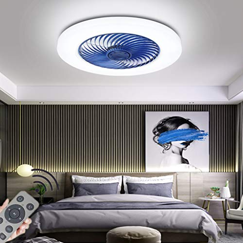 LED Deckenventilator Mit Beleuchtung Modern Dimmable 72W Lüfter-Deckenleuchte Ultra-Leise Unsichtbar Wind /Lichtquelle Einstellbar Ventilator Deckenlampe Schlafzimmer Fan Lüfter Lampe(Ø52CM),Blau
