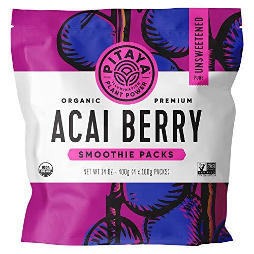 Pitaya Foods, Organic Acai Berry Frozen Packets, USDA Organic, Non-GMO, Earth Kosher, Grade A Premium Acai Puree, 32 x 3.5oz Packets To Make Acai Bowls, Loaded with Immunity Boosting Vitamins and Mine