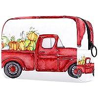 コスメティックバッグトラベルトイレタリー 毎日のポータブルジッパークロージャーメイクアップバッグ,赤い収穫トラックのカボチャ