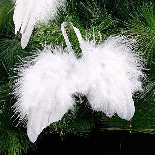 TEBX, 10 decorazioni per albero di Natale con ali di piume, colore bianco, stile vintage, da appendere, per feste di nozze, 8 x 6 cm