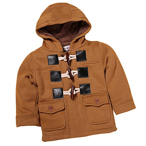 SXSHUN Baby Kinder Jungen Dufflecoat Winterjacke mit Kapuze Trenchcoat Steppjacke Kapuzenmantel Hooded Oberbekleidung Warm Fleece Duffle Mantel, Braun, 74/80 (Etikettengröße:80)