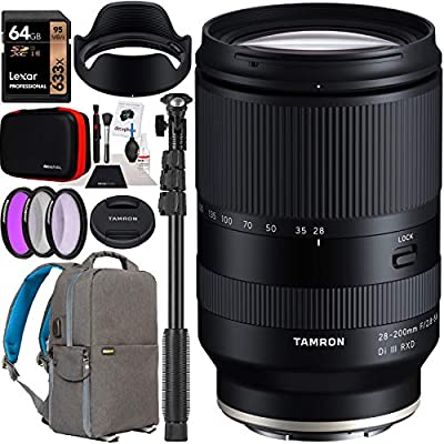 Tamron 28-200mm F/2.8-5.6 Di III RXD Lens Model A071 for Sony E-Mount Full Frame Mirrorless Cameras Bundle with Deco Gear Photography Backpack Case + Filter Kit + 64GB Card + Monopod + Accessories by Tamron