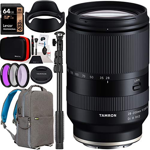 Tamron 28-200mm F/2.8-5.6 Di III RXD Lens Model A071 for Sony E-Mount Full Frame Mirrorless Cameras Bundle with Deco Gear Photography Backpack Case + Filter Kit + 64GB Card + Monopod + Accessories