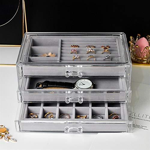 Organizador de maquillaje para mujer, colgante de reloj, caja de exposición, a prueba de polvo, tres capas, caja de exhibición para joyas, anillo y pendientes (color: estilo Nº 8)