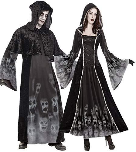 Fancy Me Coppia Donna E Uomo inquietante Spaventosa terrorizzante Soul Reaper Eater Carnevale Halloween Costumi Set