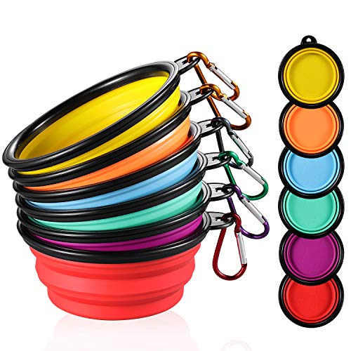 ME.FAN Collapsible Dog Bowl [6-Pack] Travel Portable Dog Bowl(12oz) Silicone Foldable Travel Bowl/Pet Food Bowl/Cat Water Bowl/Silicone Pet Expandable Bowls + 6 Carabiners Per Set (Black Rimmed