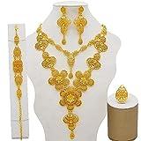 QXZ-WOLFBERRY Dubai African Nupcial Regalos de Novia Adorno de Boda Forma Conjuntos de joyería, para Mujer 24k Collar de Color Dorado (Metal Color : BJ859)