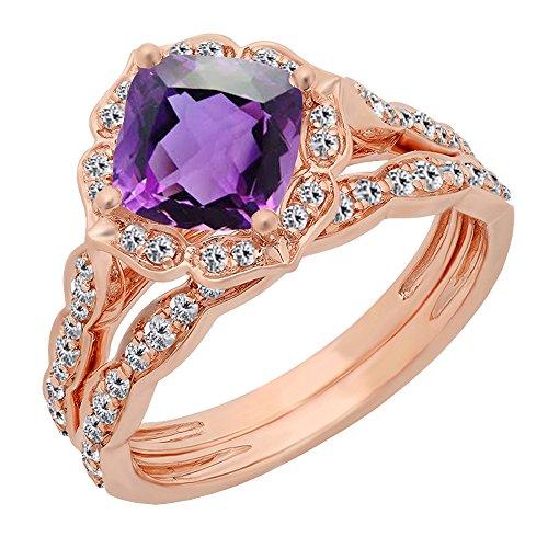 Dazzlingrock Collection 14K 7.5 MM Cushion Amethyst & Round Diamond Ladies Bridal Engagement Ring Set, Rose Gold, Size 8