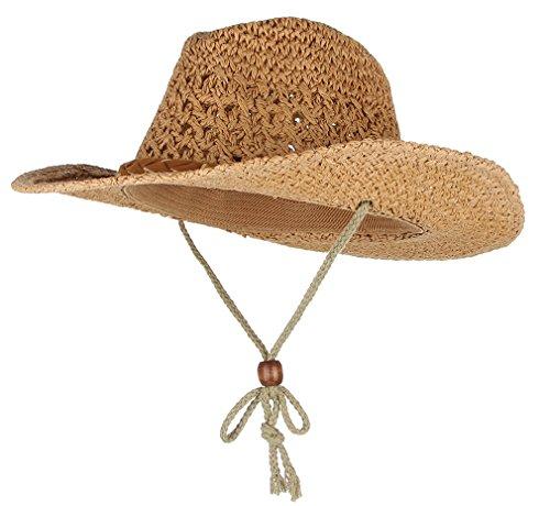 GEMVIE Kinder Stroh Hut Sonnenhut Cowboyhüte Jazz Cap mit Kinnband Mütze Khaki