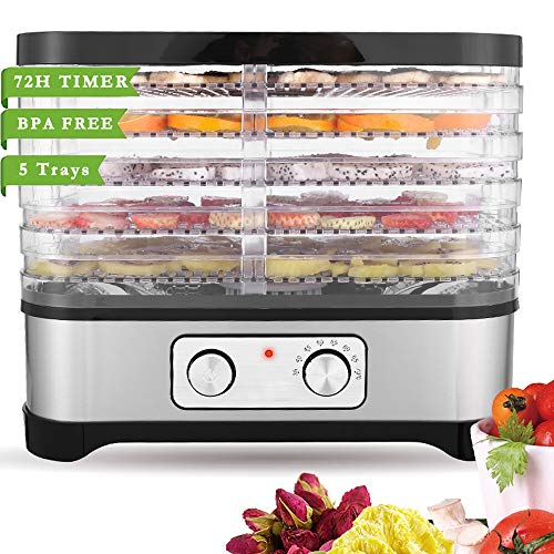 Read About Food Dehydrator Machine for Jerky Meat Fruit Vegetable Beef, BPA Free, Temperature Contro...
