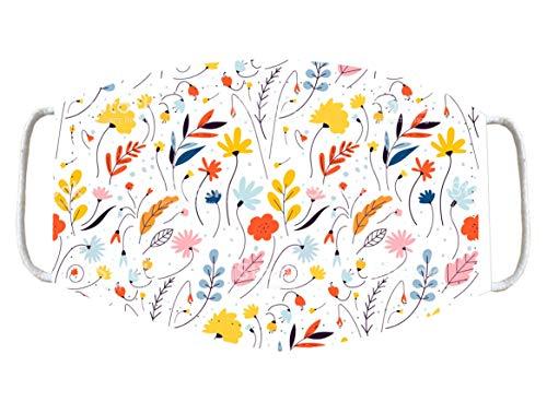 Futbolkit Macarilla Tapaboca Textil Reutilizable y Lavable con Bandas Elásticas Diseño Flores (Adulto, Flores-4)