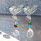 EEEKit 2 Stück Kristalle Ball Prisma Fenster Sonnenfänger, Kolibri hängende Glas Ornamente Regenbogen Maker mit Bunten Perlen für Zuhause, Gartendekoration, Auto Anhänger, Frau Geschenke