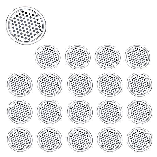 Zasiene Rejilla de Ventilación 20 Piezas Rejilla Ventilacion Redonda Rejilla de Ventilación de Acero Inoxidable para Armario de Cocina Guardarropa Gabinete del Zapato,53mm