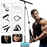Fitness Cable Pulley System, DIY Pulley Cable Machine Attachment System Fitness Pulley Cable System Home Gym Equipment Cable Machine System With Tricep Strap forLat Pull Downs, Tricep Extensions